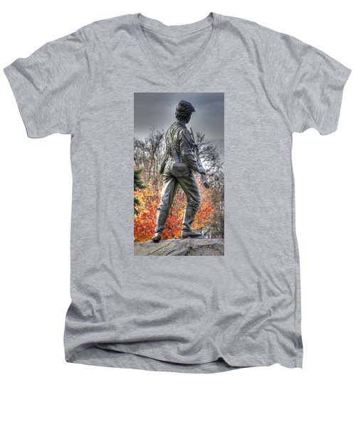 Men's V-Neck T-Shirt featuring the photograph War Fighters - 26th Pennsylvania Emergency Militia Infantry-b1 Defending The Town Of Gettysburg by Michael Mazaika