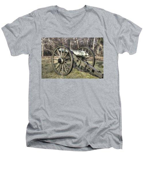 Men's V-Neck T-Shirt featuring the photograph War Thunder - 1st New York Light Artillery-c1 Battery D The Wheatfield Late Winter Gettysburg by Michael Mazaika