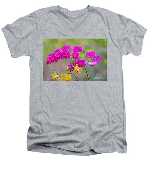 Warbler Posing In Orchids Men's V-Neck T-Shirt by Luana K Perez