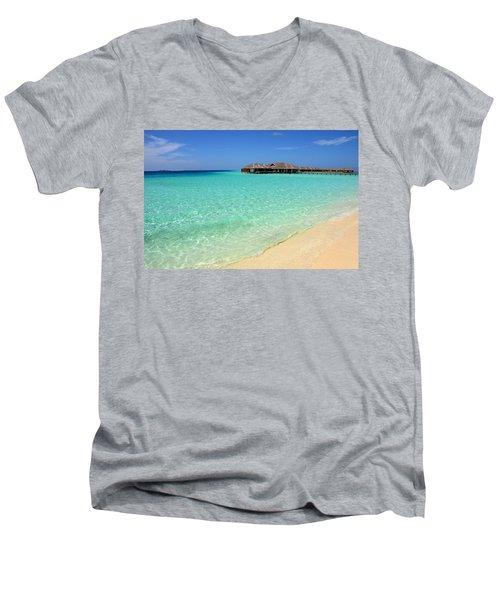 Warm Welcoming. Maldives Men's V-Neck T-Shirt by Jenny Rainbow