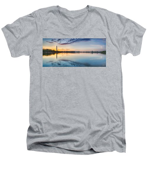 Men's V-Neck T-Shirt featuring the photograph Washington Dc Panorama by Sebastian Musial