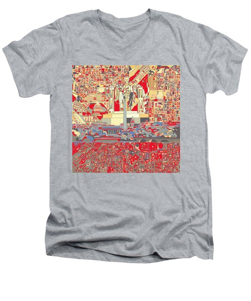 Washington Dc Skyline Abstract 6 Men's V-Neck T-Shirt by Bekim Art