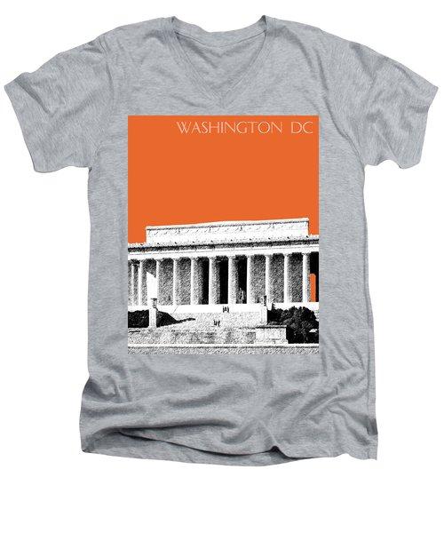 Washington Dc Skyline Lincoln Memorial - Coral Men's V-Neck T-Shirt
