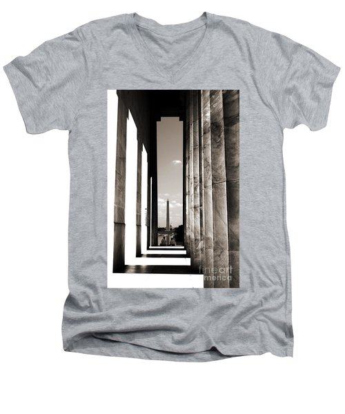 Men's V-Neck T-Shirt featuring the photograph Washington Monument by Angela DeFrias