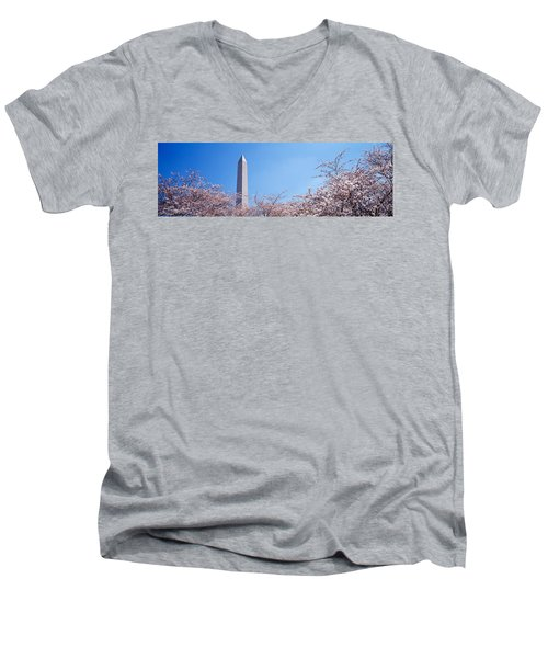 Washington Monument Behind Cherry Men's V-Neck T-Shirt by Panoramic Images