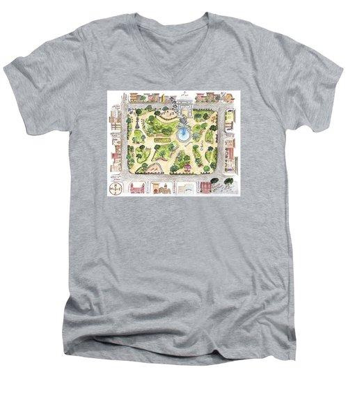 Washington Square Park Map Men's V-Neck T-Shirt by AFineLyne