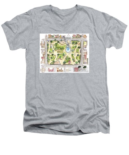 Washington Square Park Map Men's V-Neck T-Shirt