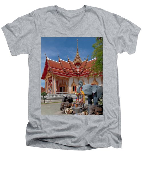 Wat Chalong Wiharn And Elephant Tribute Dthp045 Men's V-Neck T-Shirt