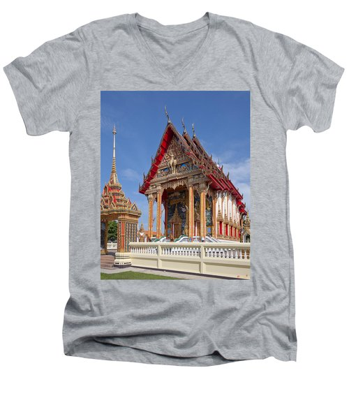 Men's V-Neck T-Shirt featuring the photograph Wat Choeng Thalay Ordination Hall Dthp138 by Gerry Gantt