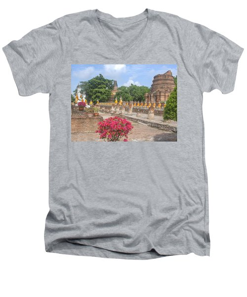 Wat Phra Chao Phya-thai Buddha Images And Ruined Chedi Dtha004 Men's V-Neck T-Shirt