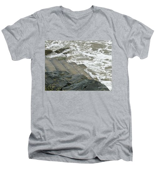 Men's V-Neck T-Shirt featuring the photograph Watch Your Step by Brenda Brown