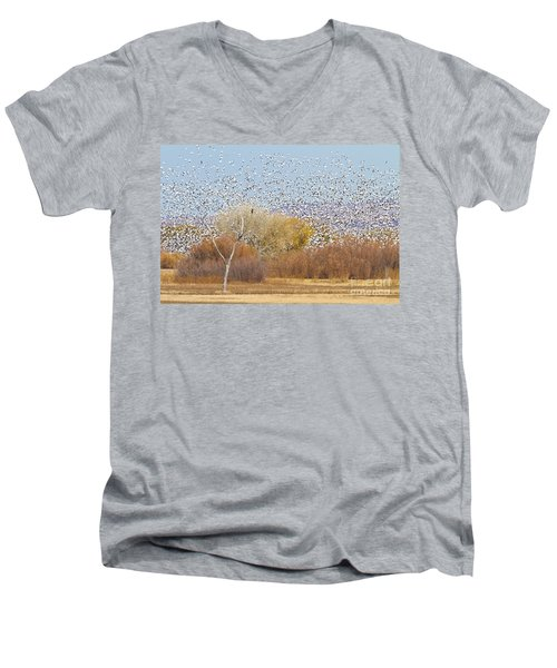 Men's V-Neck T-Shirt featuring the photograph Watching Over The Flock by Bryan Keil