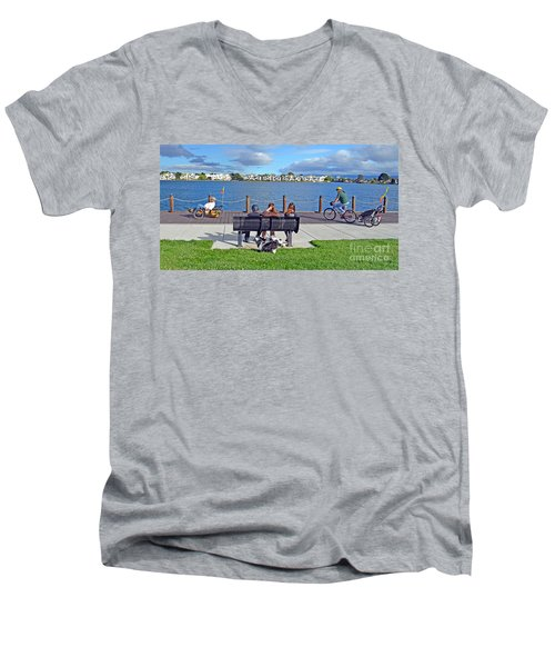 Watching The Bikes Go By At Congressman Leo Ryan's Memorial Park Men's V-Neck T-Shirt by Jim Fitzpatrick