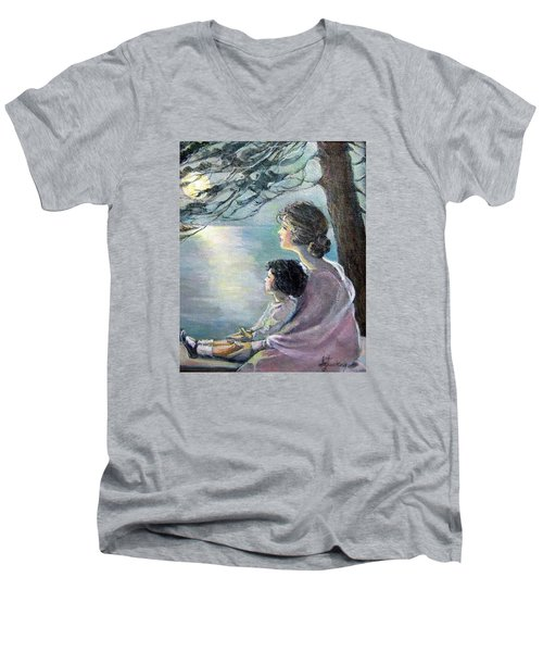 Watching The Moon Men's V-Neck T-Shirt