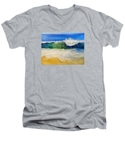 Watching The Wave As Come On The Beach Men's V-Neck T-Shirt by Pamela  Meredith