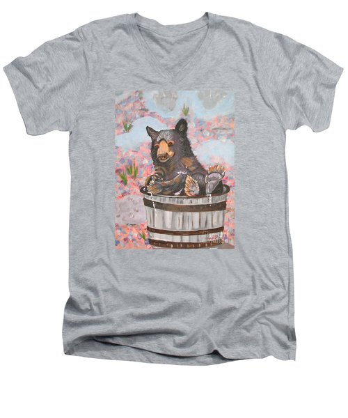 Men's V-Neck T-Shirt featuring the painting Water Bear by Phyllis Kaltenbach