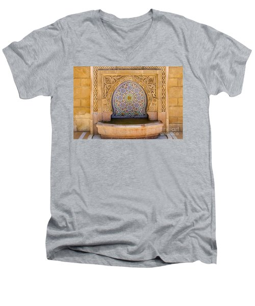 Men's V-Neck T-Shirt featuring the photograph Water Fountain Mausoleum Of Mohammed V Opposite Hassan Tower Rabat Morocco  by Ralph A  Ledergerber-Photography