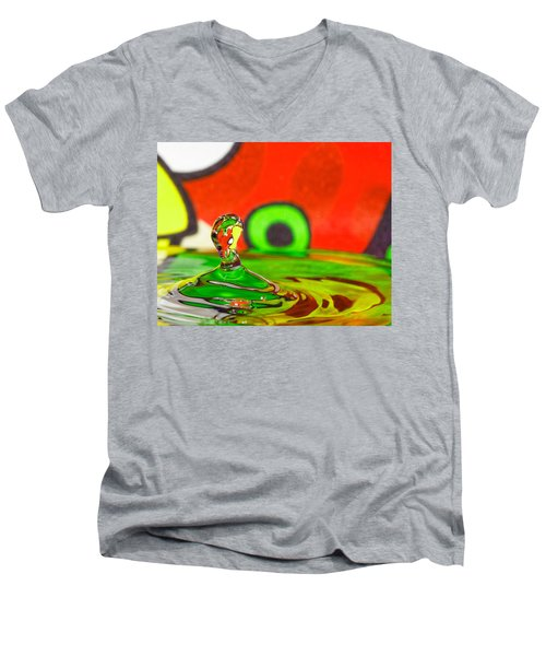 Men's V-Neck T-Shirt featuring the photograph Water Hill by Peter Lakomy