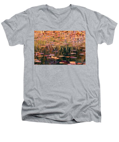 Water Lilies Re Do Men's V-Neck T-Shirt by Chris Anderson