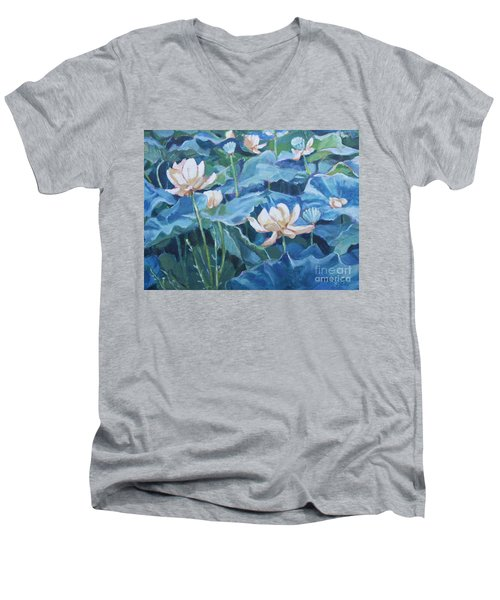 Water Lilies Two Men's V-Neck T-Shirt by Jan Bennicoff