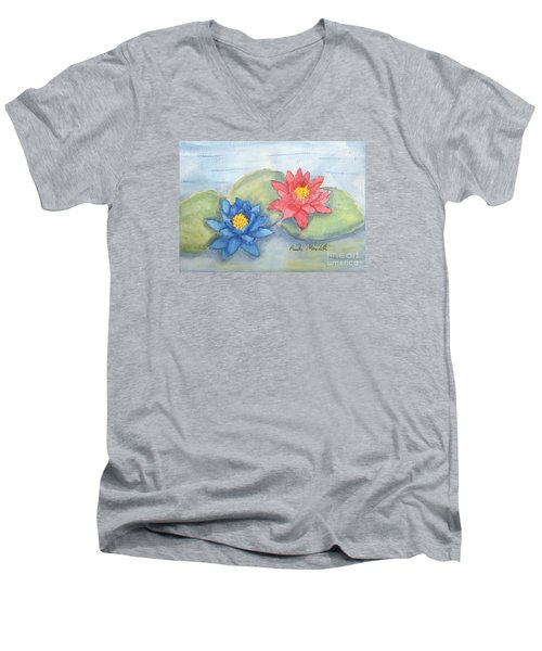 Water   Lillies  Men's V-Neck T-Shirt by Pamela  Meredith
