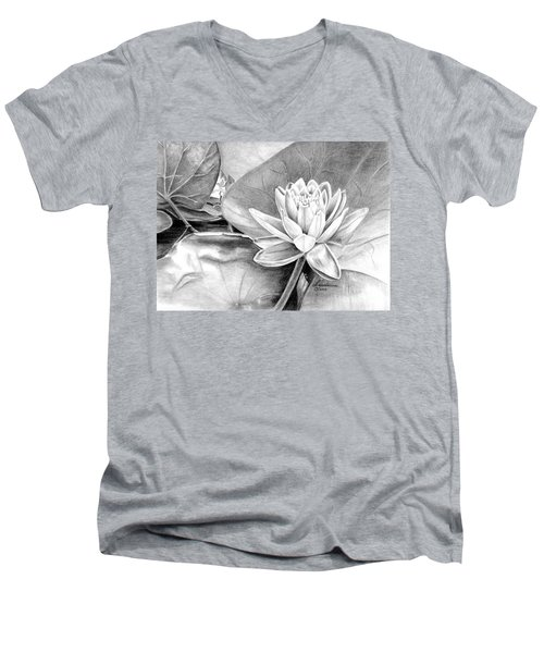 Water Lilly Men's V-Neck T-Shirt by Laurianna Taylor