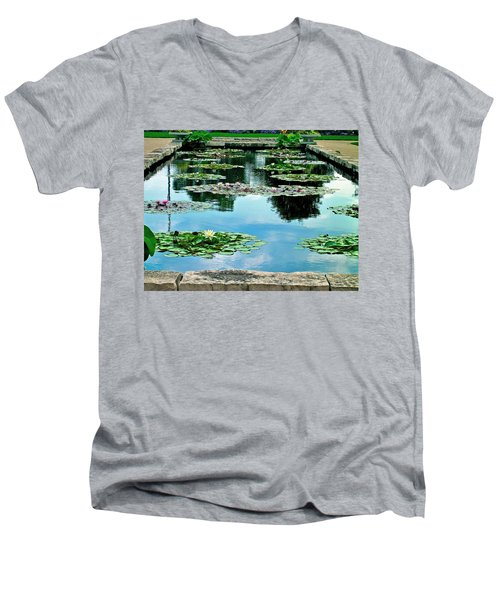 Men's V-Neck T-Shirt featuring the photograph Water Lily Garden by Zafer Gurel