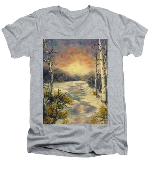 Men's V-Neck T-Shirt featuring the painting Water Music  by Megan Walsh