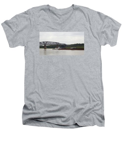 Men's V-Neck T-Shirt featuring the photograph Water Under The Bridge - Towboat On The Mississippi by Jane Eleanor Nicholas