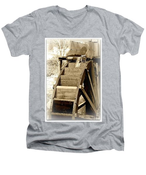 Water Wheel Men's V-Neck T-Shirt by Tara Potts