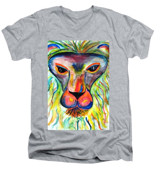 Watercolor Lion Men's V-Neck T-Shirt by Angela Murray
