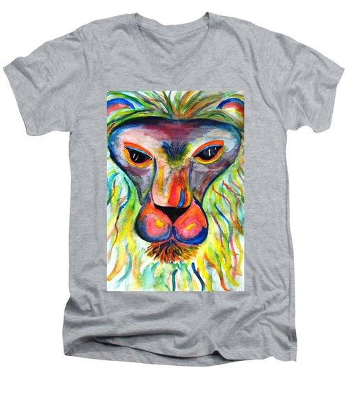 Watercolor Lion Men's V-Neck T-Shirt