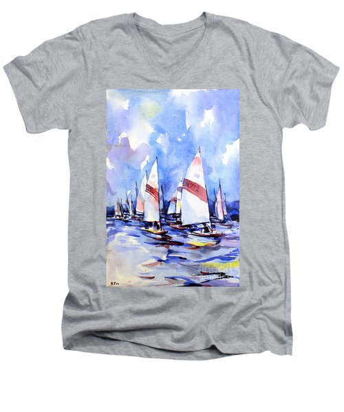 Watercolor Of Scow Boats Racing Torch Lake Mi Men's V-Neck T-Shirt
