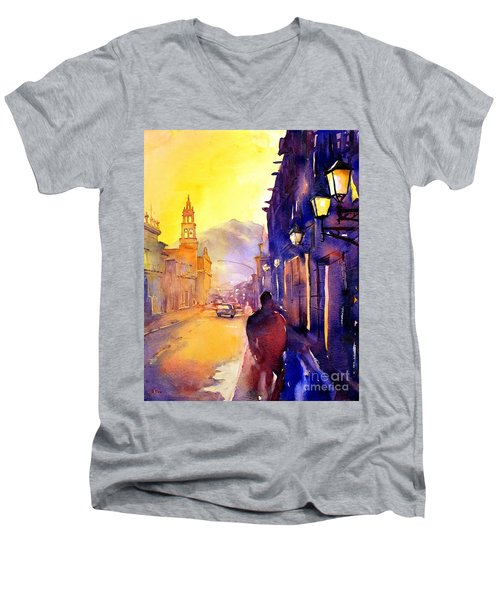 Watercolor Painting Of Street And Church Morelia Mexico Men's V-Neck T-Shirt