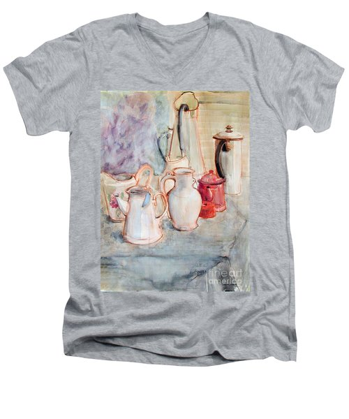 Watercolor Still Life With Red Can Men's V-Neck T-Shirt