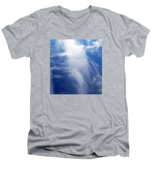 Waterfall In The Sky Men's V-Neck T-Shirt by Belinda Lee