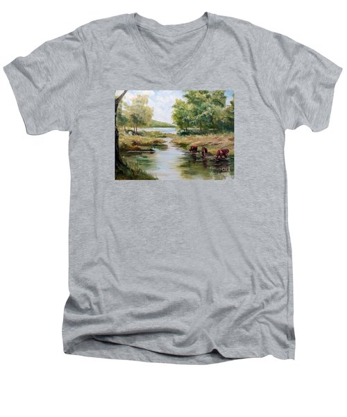 Men's V-Neck T-Shirt featuring the painting Waterloo by Lee Piper