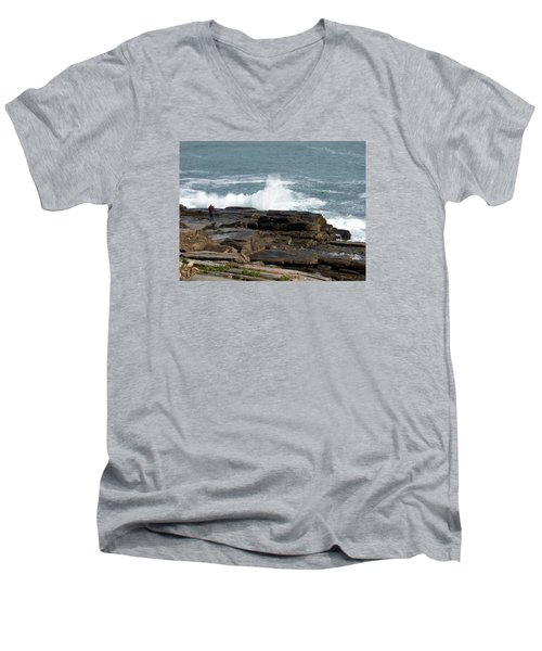 Wave Hitting Rock Men's V-Neck T-Shirt by Catherine Gagne