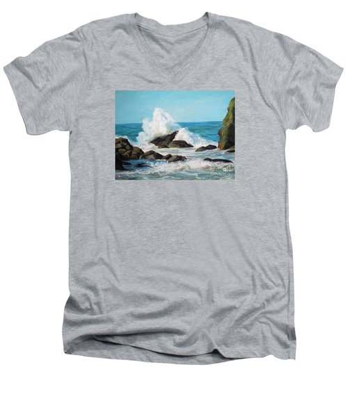 Men's V-Neck T-Shirt featuring the painting Wave by Jieming Wang