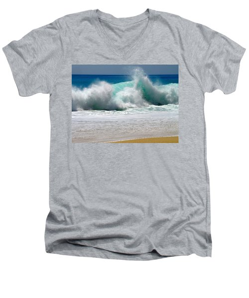 Wave Men's V-Neck T-Shirt by Karon Melillo DeVega