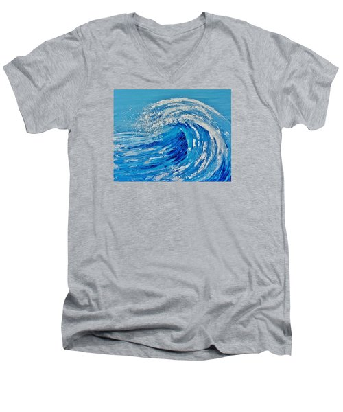 Men's V-Neck T-Shirt featuring the painting Wave by Katherine Young-Beck