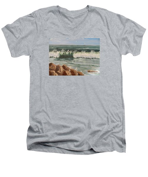 Waves Crashing Men's V-Neck T-Shirt by Pamela  Meredith