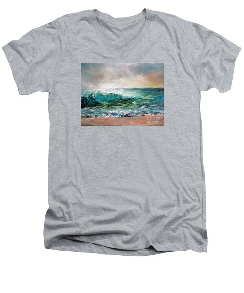 Men's V-Neck T-Shirt featuring the painting Waves by Jieming Wang
