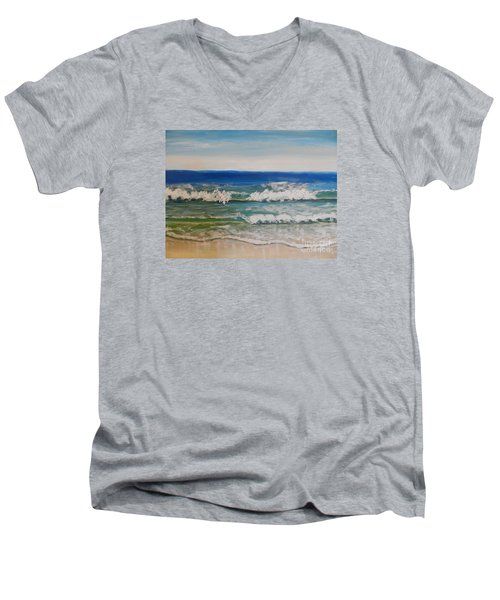 Waves Men's V-Neck T-Shirt by Pamela  Meredith