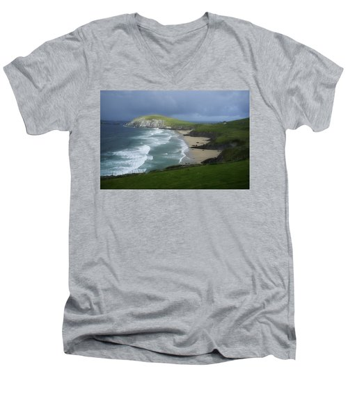 Waves Ring Of Dingle Men's V-Neck T-Shirt by Hugh Smith