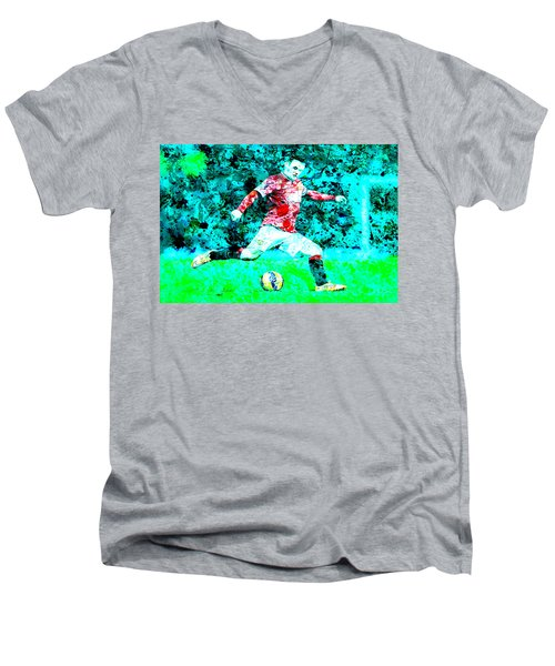Wayne Rooney Splats Men's V-Neck T-Shirt by Brian Reaves