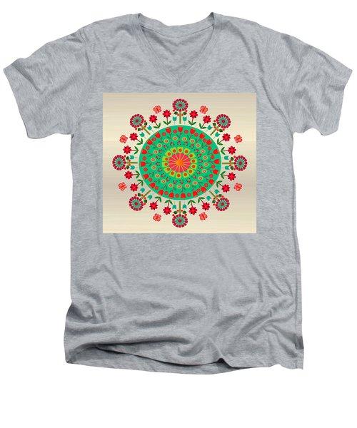 Wayuu Art Garden Men's V-Neck T-Shirt by Gabriela Delgado