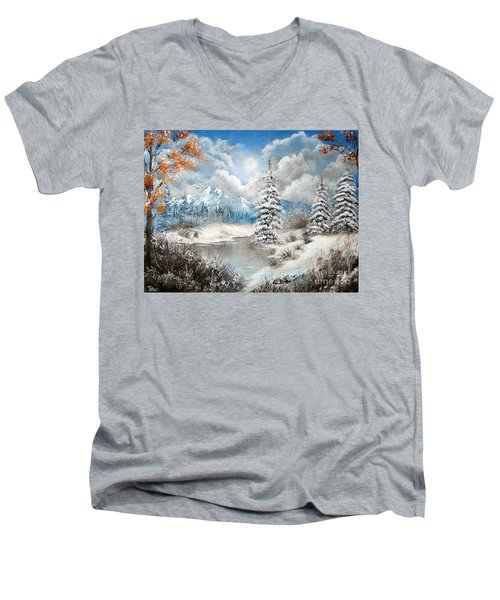 Men's V-Neck T-Shirt featuring the painting We Lost The Road by Patrice Torrillo
