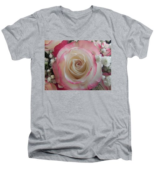 Men's V-Neck T-Shirt featuring the photograph Wedding Bouquet by Deb Halloran