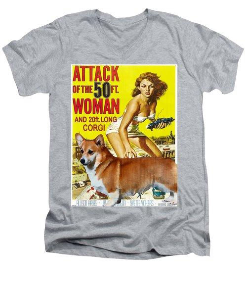 Welsh Corgi Pembroke Art Canvas Print - Attack Of The 50ft Woman Movie Poster Men's V-Neck T-Shirt